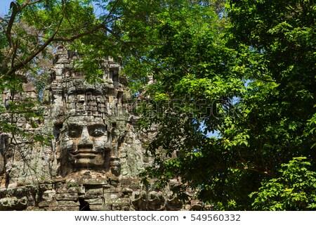Caras templo decorado angkor Camboya Foto stock © searagen