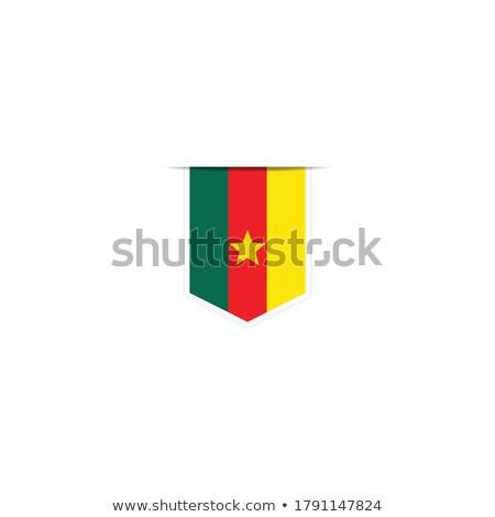 Cameroon Small Flag on a Map Background. Stock photo © tashatuvango