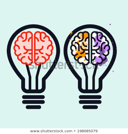 light bulb with brain and blots inside   creativity symbol stock photo © winner