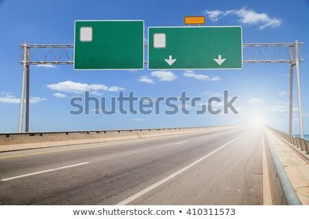 зеленый · дорожный · знак · скопировать · комнату · драматический · облака - Сток-фото © tashatuvango