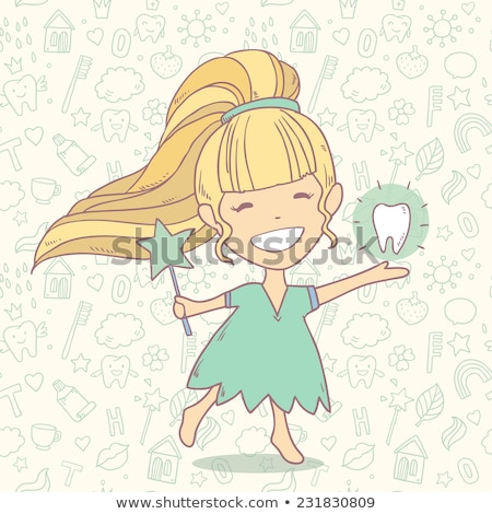 A cute tooth fairy with her magic wand. Stock photo © Norberthos