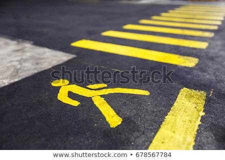 Yellow Road Marking Stripe On Asphalt Background Stock photo © stevanovicigor