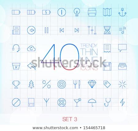 diamond icon glass button set stock photo © aliaksandra