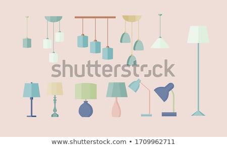 szett · asztal · lámpák · vektor · szeretet · terv - stock fotó © kovacevic