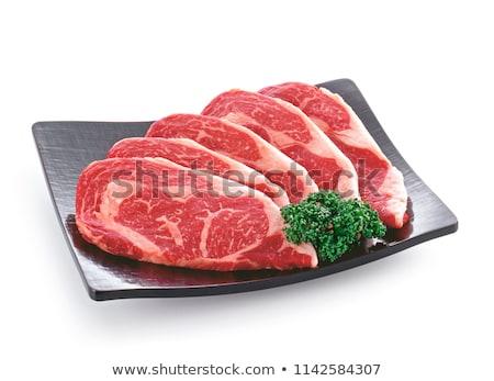 Ruw rundvlees lendenen witte geïsoleerd achtergrond Stockfoto © OleksandrO