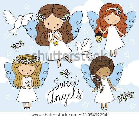 Dziewczyna cute anioł stylizowany obiektu długo Zdjęcia stock © Anna_leni