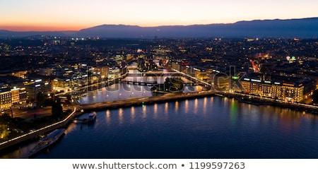 Fontana ponte Svizzera fiume notte Foto d'archivio © Elenarts