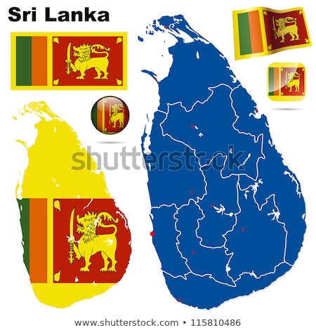 Map on flag button of Democratic Socialist Republic Sri Lanka Stock photo © Istanbul2009