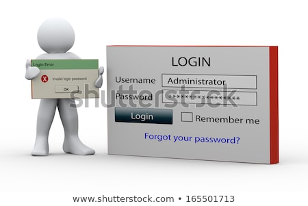 3d man inloggen wachtwoord witte top hoek Stockfoto © nithin_abraham