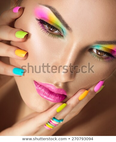 mascara model with hands and nails Stock photo © stryjek