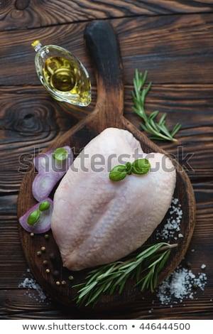Nyers friss hús egész csirkemell kész Stock fotó © Ainat