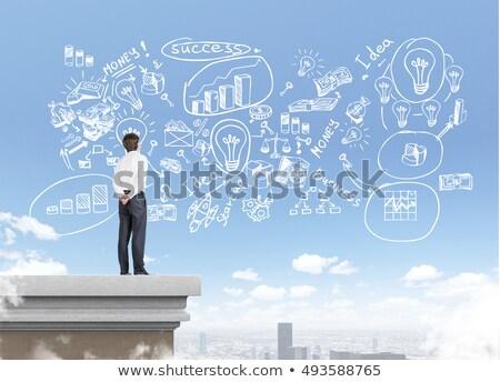 üzletemberek áll nyereség grafikon ikon rajzolt Stock fotó © RAStudio