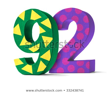 Colorful Paper Mache Number on a white background  - Number 92 Stock photo © Zerbor