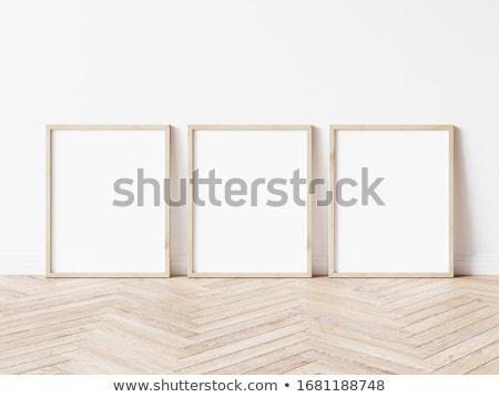 três · quadros · parede · de · tijolos · quarto · branco · fundos - foto stock © paha_l