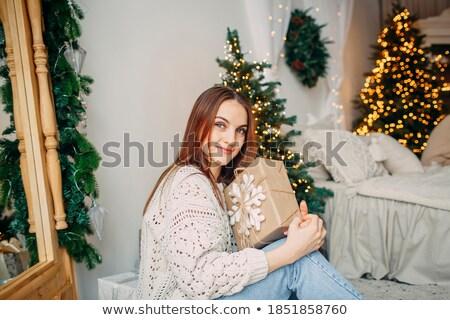 Atrakcyjny pozytywny młoda kobieta wykonany ręcznie christmas Zdjęcia stock © deandrobot