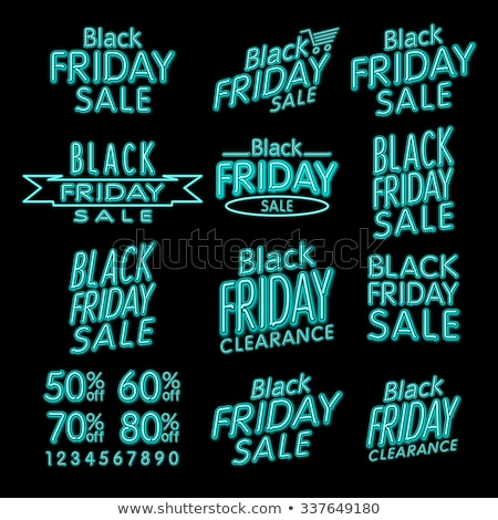 black friday designs neon retro style elements vintage ornaments sale clearance vector set stock photo © rommeo79