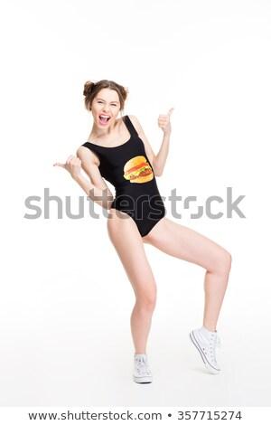 Alegre mulher dança tanto Foto stock © deandrobot