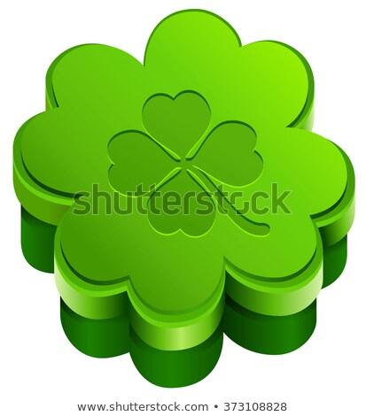 Green closed gift box shape of quatrefoil leaf clover. Lucky clover leaves Stock photo © orensila