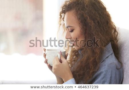 наслаждаться · чай · кафе · женщины · счастливым - Сток-фото © deandrobot