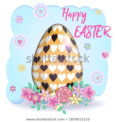 iyi · paskalyalar · vektör · paskalya · yumurtası · çim · kelebek · çiçekler - stok fotoğraf © orensila