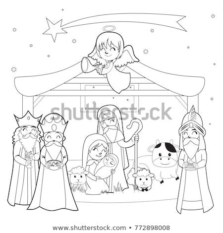 Színes jelenet Jézus Krisztus születés család Stock fotó © hraska