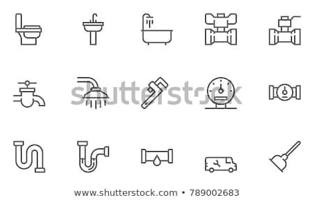 Banheira chuveiro linha ícone teia móvel Foto stock © RAStudio
