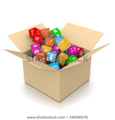 Cardboard Box Filled with App Icons Stock photo © make