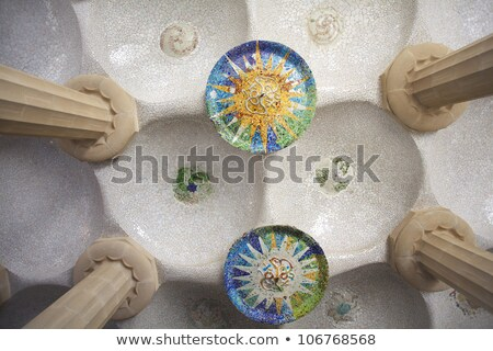 Barcelona Park Guell of Gaudi mosaic in the Hundred Columns Chamber Stock photo © artjazz