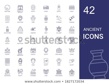 antique cannon flat icons vector illustration stock photo © konturvid