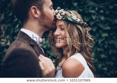 menyasszony · csók · virágcsokor · égbolt · esküvő · arc - stock fotó © deandrobot