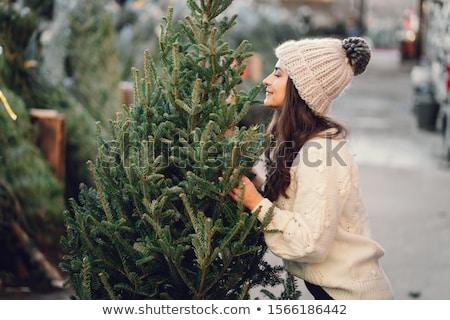 mosolygó · nő · estélyi · ruha · piros · ajándék · doboz · ünnepek · ünneplés - stock fotó © dashapetrenko