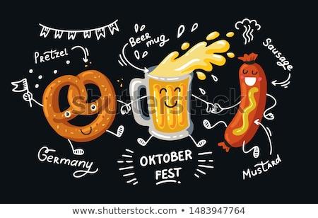 oktoberfest · bier · zoute · krakeling · illustratie · grappig · beker - stockfoto © adrenalina