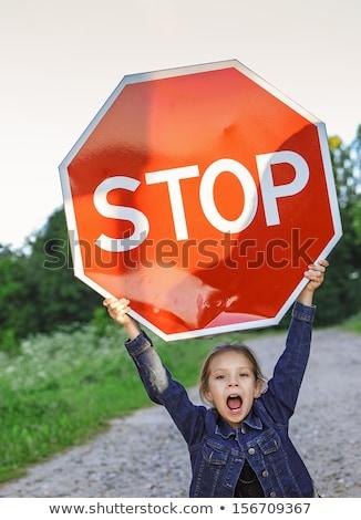 Polícia crianças pare sinais vetor conjunto Foto stock © meshaq2000