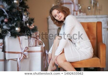 現代 白 椅子 暖炉 家 火災 ストックフォト © janssenkruseproducti