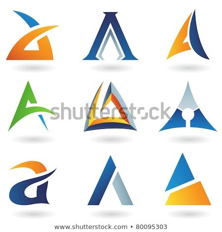 Csíkos háromszög absztrakt ikon izolált fehér Stock fotó © cidepix