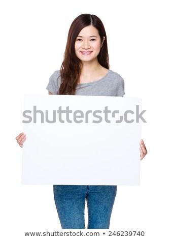Idős gyönyörű nő üres fehér tábla nő tart Stock fotó © NeonShot