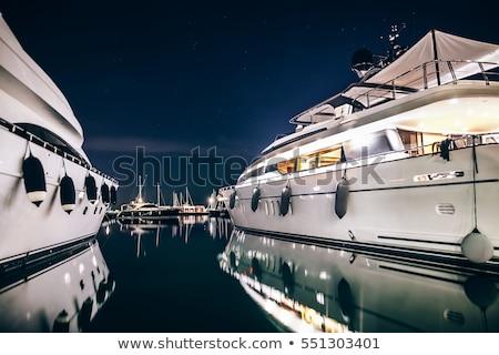 ヨット · 1泊 · 美しい · 風景 · 満月 - ストックフォト © joyr