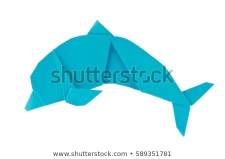 синий морем дельфин оригами изолированный белый Сток-фото © brulove