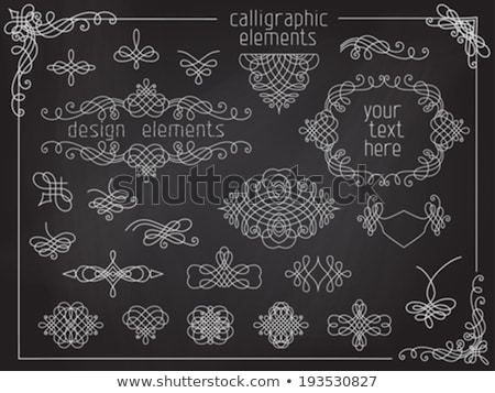 Stock photo: Decorative calligraphic ornaments, corners, borders and frames on a chalkboard background - for page