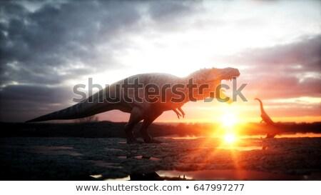 diplodocus dinosaurs and volcano   3d render stock photo © mariephoto