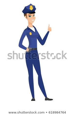 cartoon · uśmiechnięty · policjant · prawa · uśmiech · podpisania - zdjęcia stock © rastudio