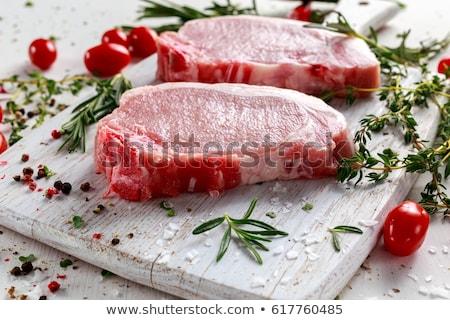 Friss disznóhús vesepecsenye darab fehér Stock fotó © Digifoodstock