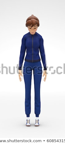 Sad, Depressed and Frustrated, Jenny - 3D Character - Stands Stooping Dull Stock photo © Loud-Mango
