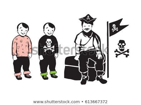 twins brothers character icon smiling silhouettes in minimalist vector stock photo © loud-mango