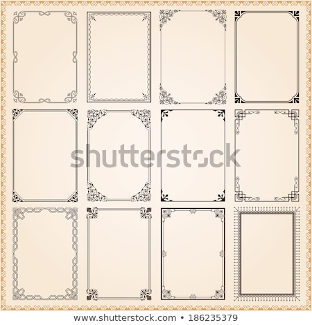 Stock photo: Calligraphic frames and borders with corner elements - vector set