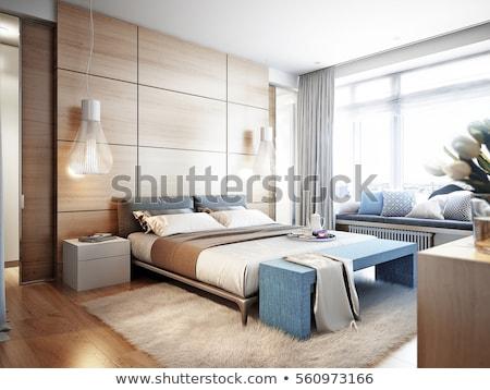 invitado · dormitorio · elegante · reina · cama · luz - foto stock © raywoo