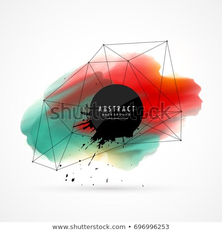 Foto stock: Red Blue Watercolor Grunge Vector Background With Wire Mesh