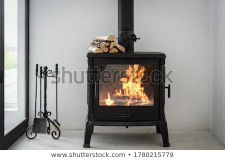 Yanan şömine ahşap büyük şenlik ateşi yer Stok fotoğraf © 5xinc