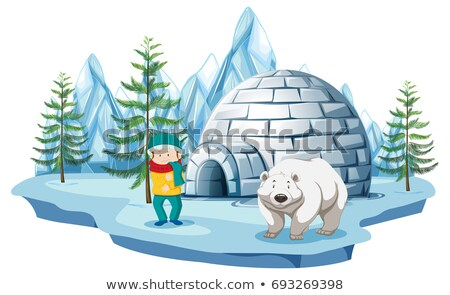 Arctic scene with boy and polar bear by igloo Stock photo © bluering