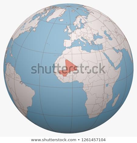 Мали мира карта красный 3d иллюстрации путешествия Сток-фото © Harlekino